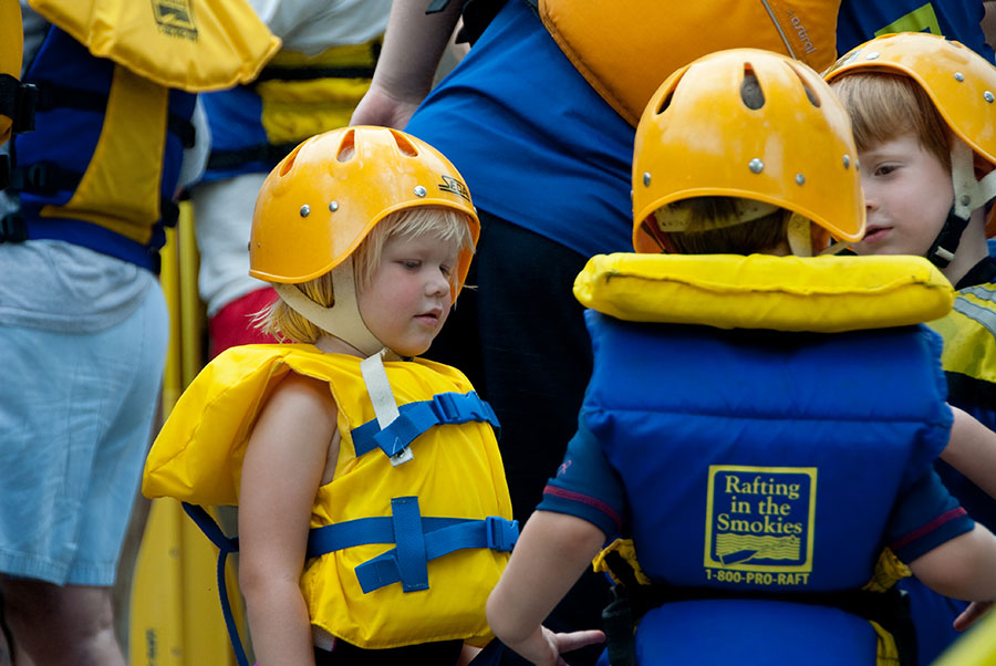 Kids getting ready for the Lower Pigeon River Family Float Trip