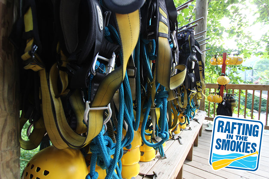 Zipline Equipment at Rafting in the Smokies