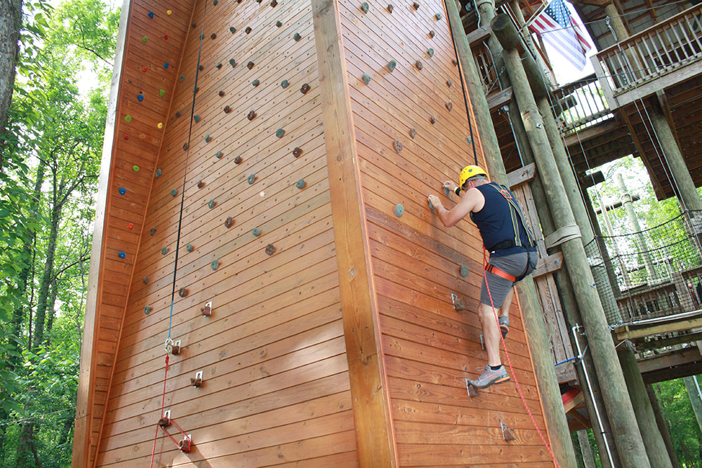Rock Climbing wall at Rafting in the Smokies